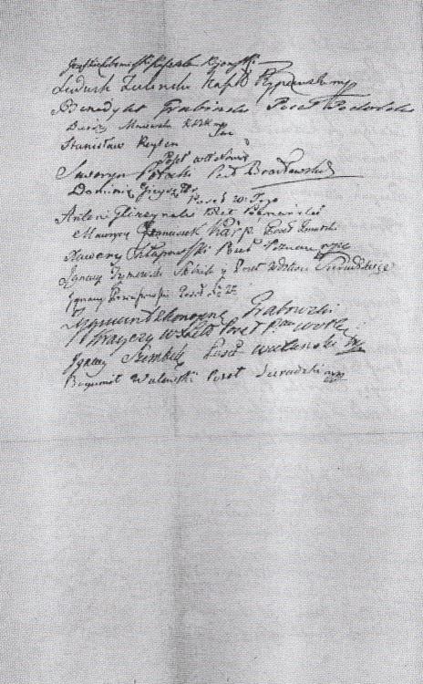 Asekuracja – podpisy senatorów i posłów z 2 maja 1791 zobowiązujących się głosować na rzecz przyjęcia Ustawy Rządowej(Archiwum Główne Akt Dawnych w Warszawie). Strona 2. Wojciech Wiktor Szczygielski
