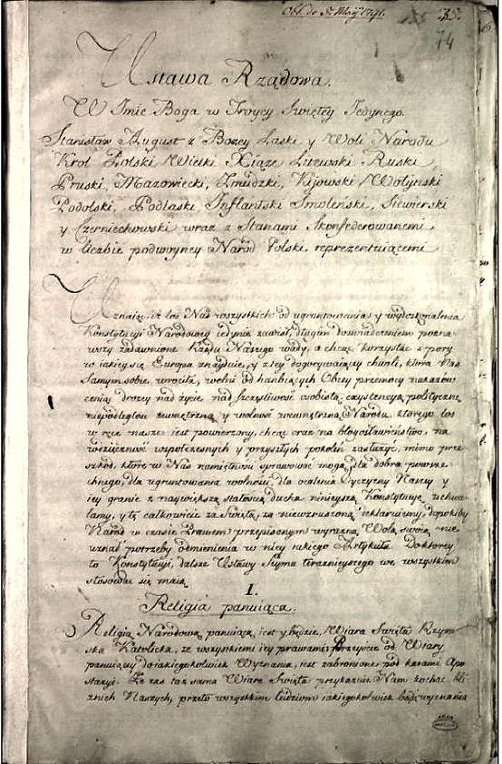 Pierwsza strona rękopisu Konstytucji 3 maja. Wojciech Wiktor Szczygielski