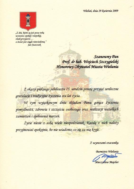 Życzenia od Mieczysława Majchera (Burmistrza Wielunia). Wojciech Wiktor Szczygielski