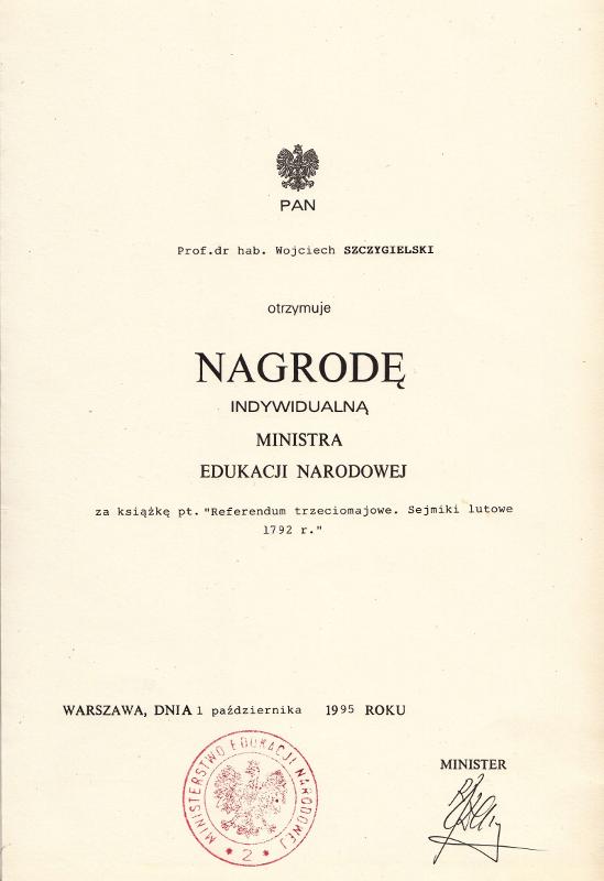 Nagroda Indywidualna Ministra Edukacji Narodowej. Wojciech Wiktor Szczygielski