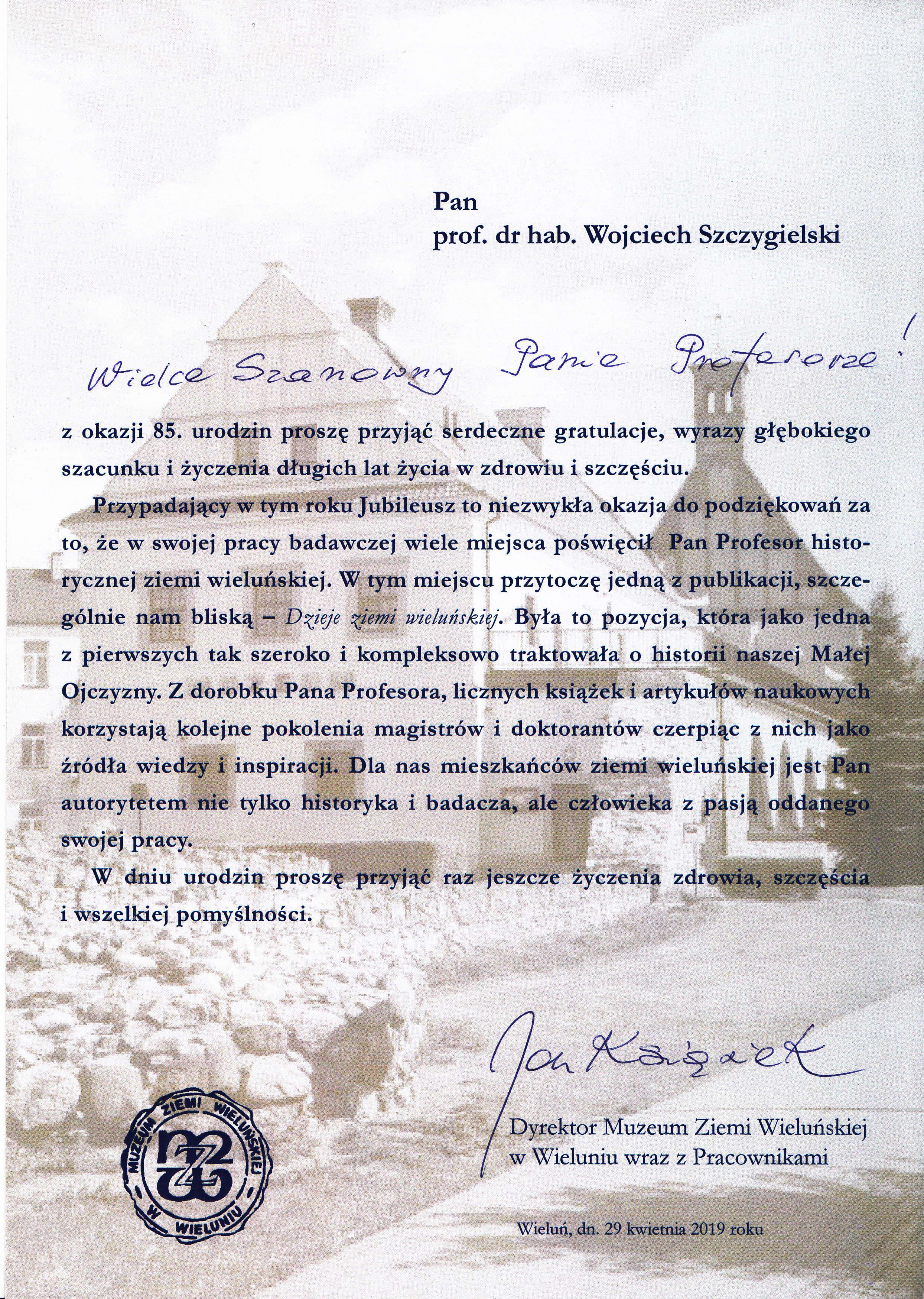 Życzenia z okazji 85. rocznicy urodzin od Dyrektora Muzeum Ziemi Wieluńskiej (2019 r.)