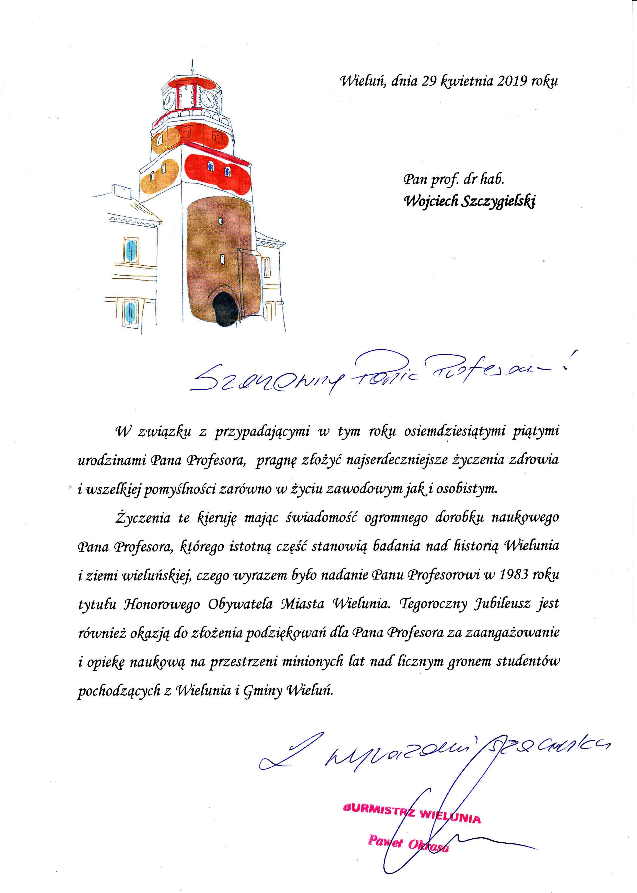 Życzenia od Pawła Okrasy (Burmistrza Wielunia). Wojciech Wiktor Szczygielski